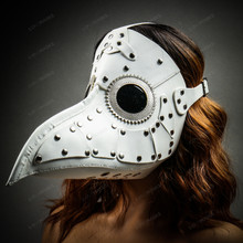 Steampunk Plague Doctor Mask Full Face Masquerade - White with Model