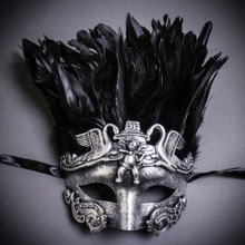 Venetian Feather Masquerade Mask Swan Angel Warrior - Silver