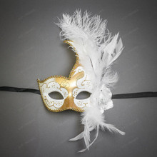 Venetian Half Moon Masquerade Feather Mask - Gold White
