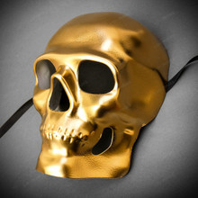 Skull Halloween Masquerade Full Face Mask - Gold
