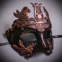 Roman Greek Emperor with Pegasus Horses Venetian Mask - Copper Black