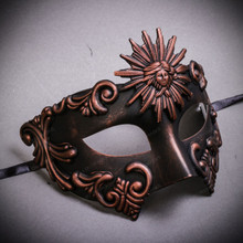 Warrior Roman Greek Sun Venetian Masquerade Mask - Copper Black