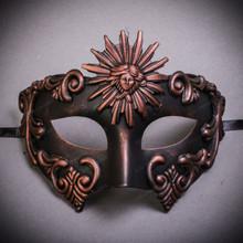 Warrior Roman Greek Sun Venetian Masquerade Mask - Copper Black