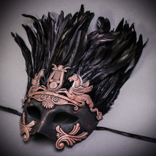 Roman Greek Emperor Pegasus Horses Venetian Feather Mask - Black Copper