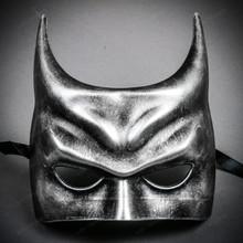 Dark Knight Batman Half Face Masquerade Mask - Black Silver