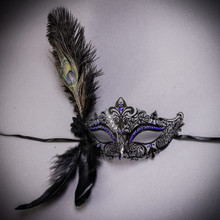 Peacock Feather Venetian Masquerade Mask for Women - Black Blue
