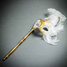 Venetian Side Feather Masquerade Mask with Stick - Gold White (full)