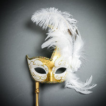 Venetian Side Feather Masquerade Mask with Stick - Gold White