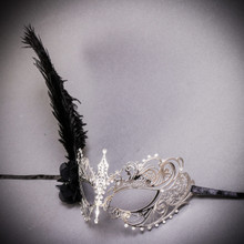 Luxury Princess Venetian Women's Masquerade Mask with Feather - Silver Black