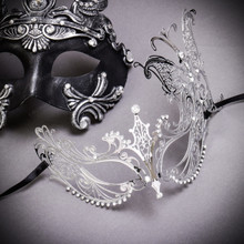 Silver Roman Greek Emperor with Pegasus Horses Venetian Mask & Silver Butterfly Laser Cut Venetian Masquerade Mask - Couple