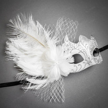Swan Venetian Lace Flower Feather Women Mask - White Silver