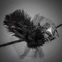 Swan Venetian Lace Flower Feather Women Mask - Black Silver
