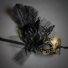 Butterfly Lace Feather Women Mask - Black Gold