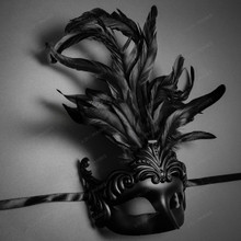 Unisex Men Women Venetian Tall Feather Masquerade Mask - Black