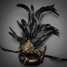 Unisex Men Women Venetian Tall Feather Masquerade Mask - Dark Gold Black