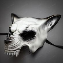 Angry Wolf Dog Animal Full Face Masquerade Mask - White Black