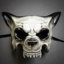 Halloween Devil Wolf Full Face Masquerade Mask - White Black