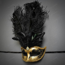 Venetian Women Tall Feather Masquerade Mask - Gold Black