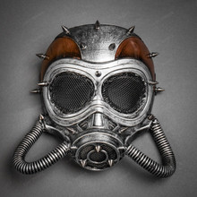 Steampunk Full Face Skull Mask Gas Pipe Submarine - Black Silver