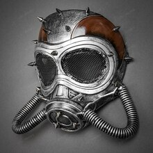 Steampunk Full Face Skull Mask Gas Pipe Submarine - Black Silver