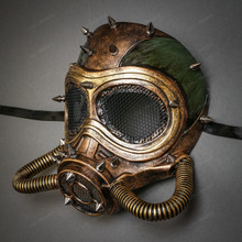 Submarine Full Face Steampunk Gas Mask - Black Gold