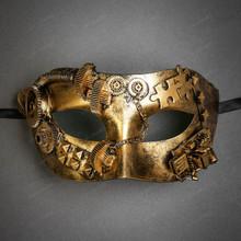 Steampunk Masquerade Half Face Eye Mask - Gold