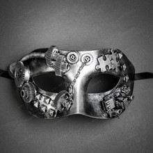 Steampunk Masquerade Half Face Eye Mask - Silver