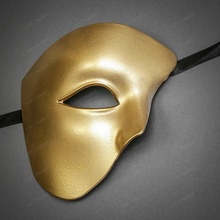 Phantom of the Opera Half Face Masquerade Mask - Gold