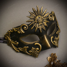 Black Gold Sun Greek  Warrior & White Gold Luna Venetian with Lace Couple Masks Set
