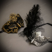 Black Gold Venetian Sun Warrior Greek Men & Black Silver Butterfly Lace with Feather Couple Masks Set