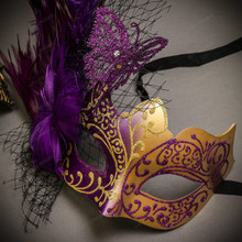 Black Gold Venetian Sun Warrior Greek Men & Purple Gold Butterfly Lace with Feather Couple Masks Set