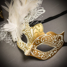 Black Gold Venetian Sun Warrior Greek Men & White Gold Butterfly Lace with Feather Couple Masks Set