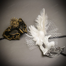 Black Gold Venetian Sun Warrior Greek Men & White Silver Butterfly Lace with Feather Couple Masks Set