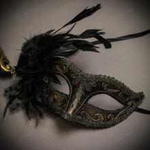 Black Gold Venetian Roman Warrior Greek Men & Dark Gold Glitter with Feather Couple Masks Set