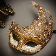 Black Gold Venetian Roman Warrior Greek Men & White Gold Luna Venetian with Lace Couple Masks Set