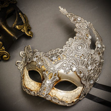 Black Gold Venetian Roman Warrior Greek Men & Silver Grey Luna Venetian with Lace Couple Masks Set