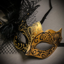 Black Gold Venetian Roman Warrior Greek Men & Black Gold Butterfly Lace with Feather Couple Masks Set