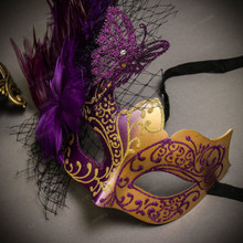 Black Gold Venetian Roman Warrior Greek Men & Purple Gold Butterfly Lace with Feather Couple Masks Set
