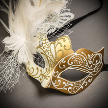 Black Gold Venetian Roman Warrior Greek Men & White Gold Butterfly Lace with Feather Couple Masks Set