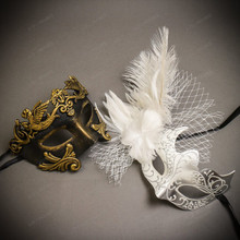 Black Gold Venetian Roman Warrior Greek Men & White Silver Butterfly Lace with Feather Couple Masks Set