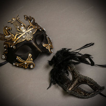 Black Gold Roman Greek Emperor with Pegasus Men & Dark Gold Glitter with Feather Couple Masks Set