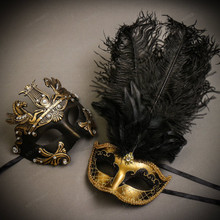 Black Gold Roman Greek Emperor with Pegasus Men & Gold Black Mardi Gras Top Feather Couple Masks Set