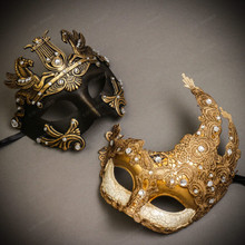 Black Gold Roman Greek Emperor with Pegasus Men & White Gold Luna Venetian with Lace Couple Masks Set