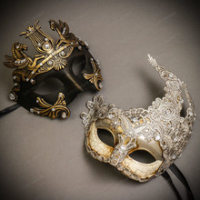 Black Gold Roman Greek Emperor with Pegasus Men & Sliver Grey Luna Venetian with Lace Couple Masks Set