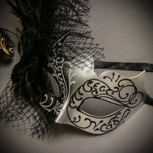 Black Gold Roman Greek Emperor with Pegasus Men & Black Silver Butterfly Lace with Feather Couple Masks Set