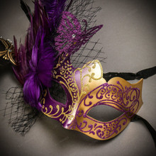 Black Gold Roman Greek Emperor with Pegasus Men & Purple Gold Butterfly Lace with Feather Couple Masks Set