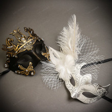 Black Gold Roman Greek Emperor with Pegasus Men & White Silver Butterfly Lace with Feather Couple Masks Set