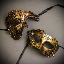 Gold Steampunk Half Face Phantom Of The Opera & Gold Steampunk Eye Mask Couple Masks Set