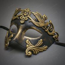Roman Greek Emperor Masquerade Venetian Mask - Black Gold