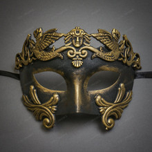 Roman Greek Emperor Masquerade Venetian Mask - Black Gold
